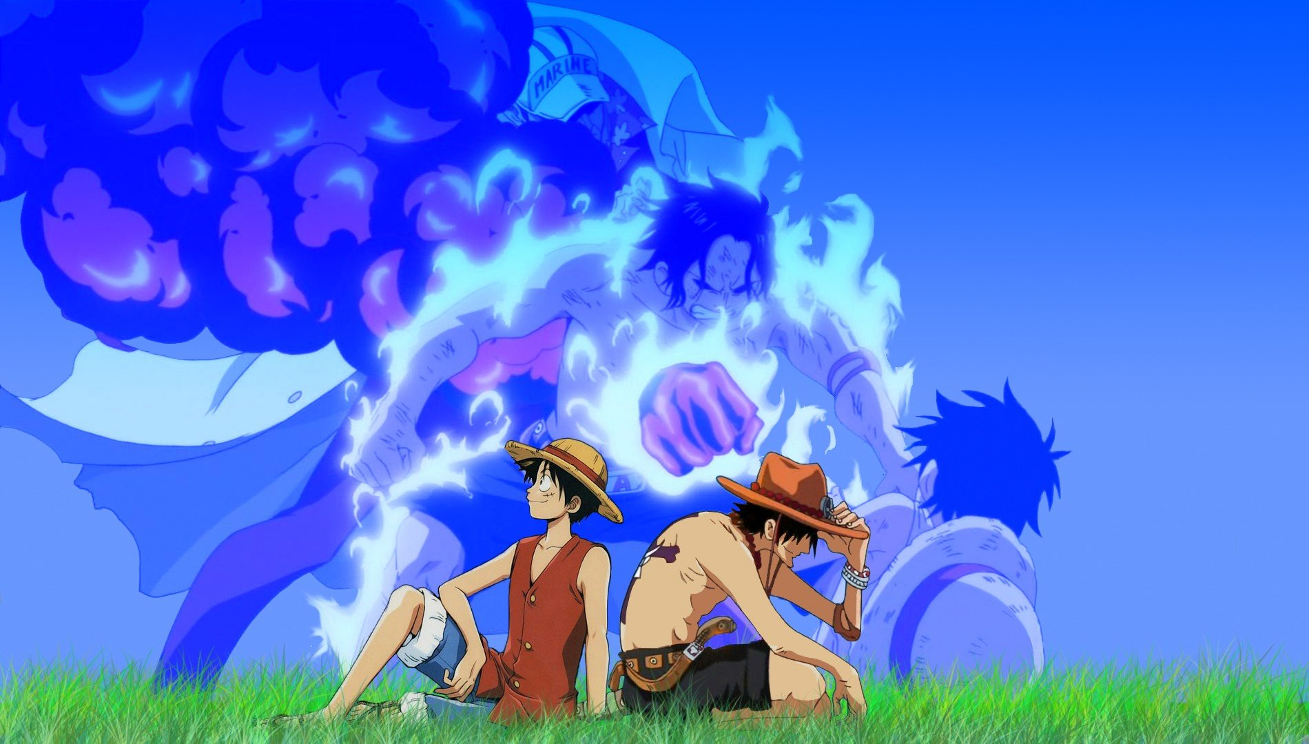 One Piece (anime) Ace Monkey D Luffy wallpaper | 1900x1080 ...