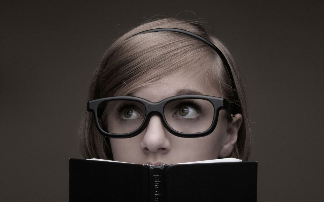 women glasses books faces intellectualism girls with glasses wallpaper