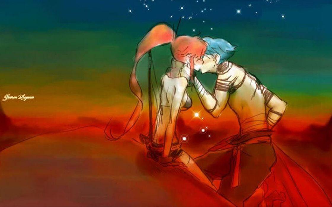 Kamina kissing Tengen Toppa Gurren Lagann couple Littner Yoko anime wallpaper
