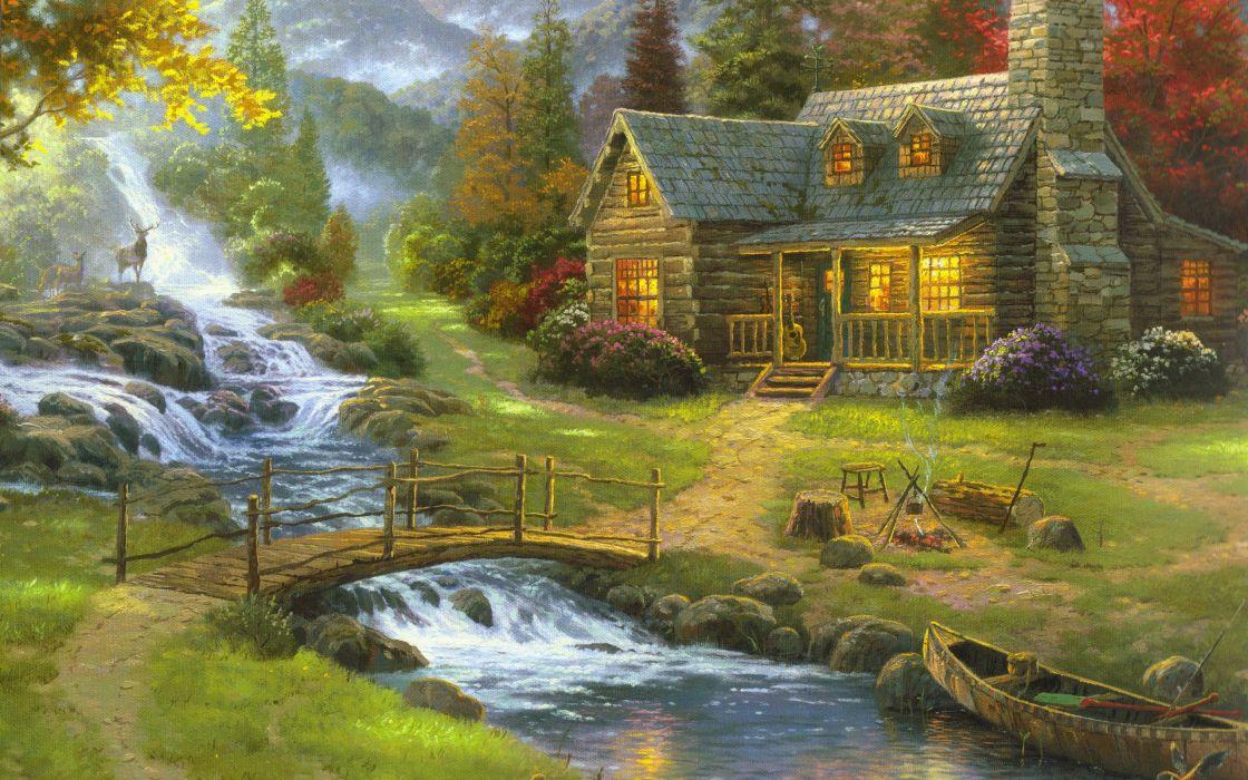 houses artwork rivers wallpaper