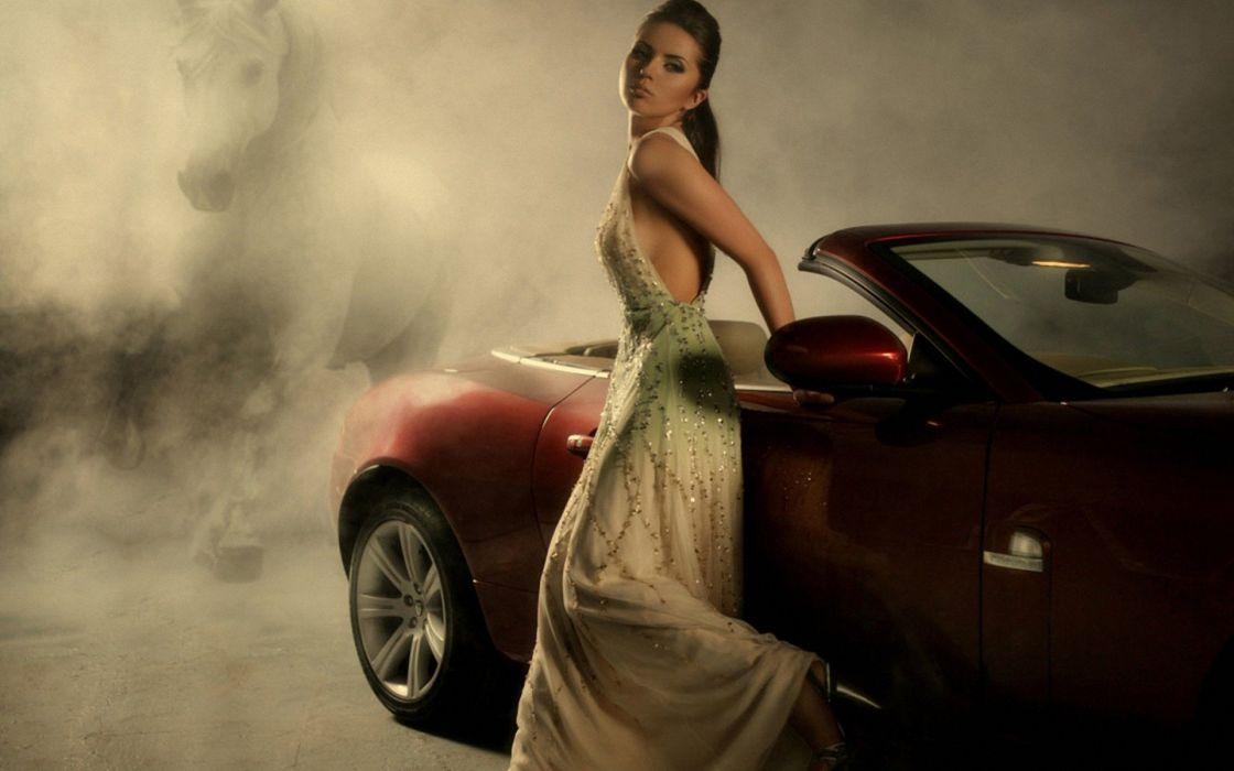 women red fog convertible white dress girls with cars wallpaper