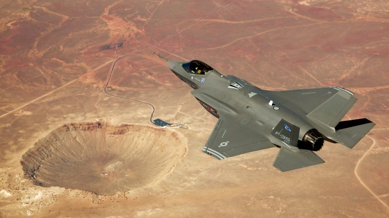 military crater F-35 Lightning II fighter jets wallpaper
