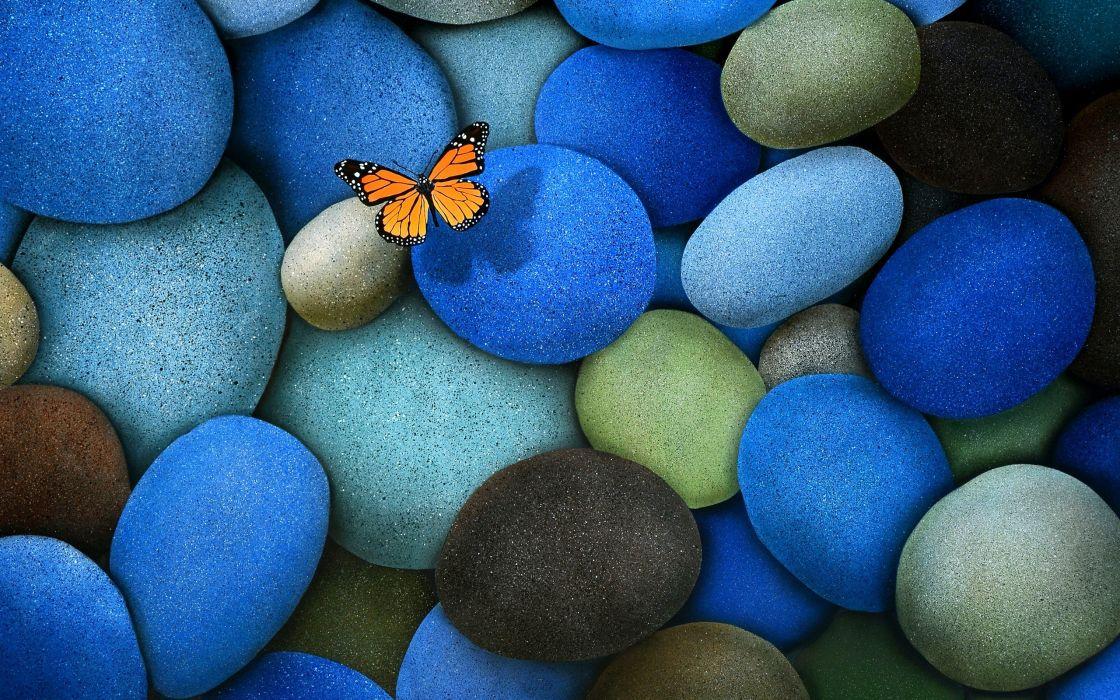 stones butterflies wallpaper