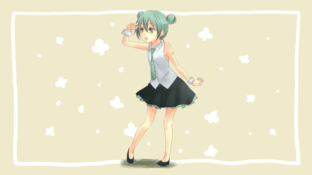 tattoos Vocaloid Hatsune Miku tie skirts shoes green eyes green hair shirts open mouth cuffs simple background anime girls brown background wallpaper
