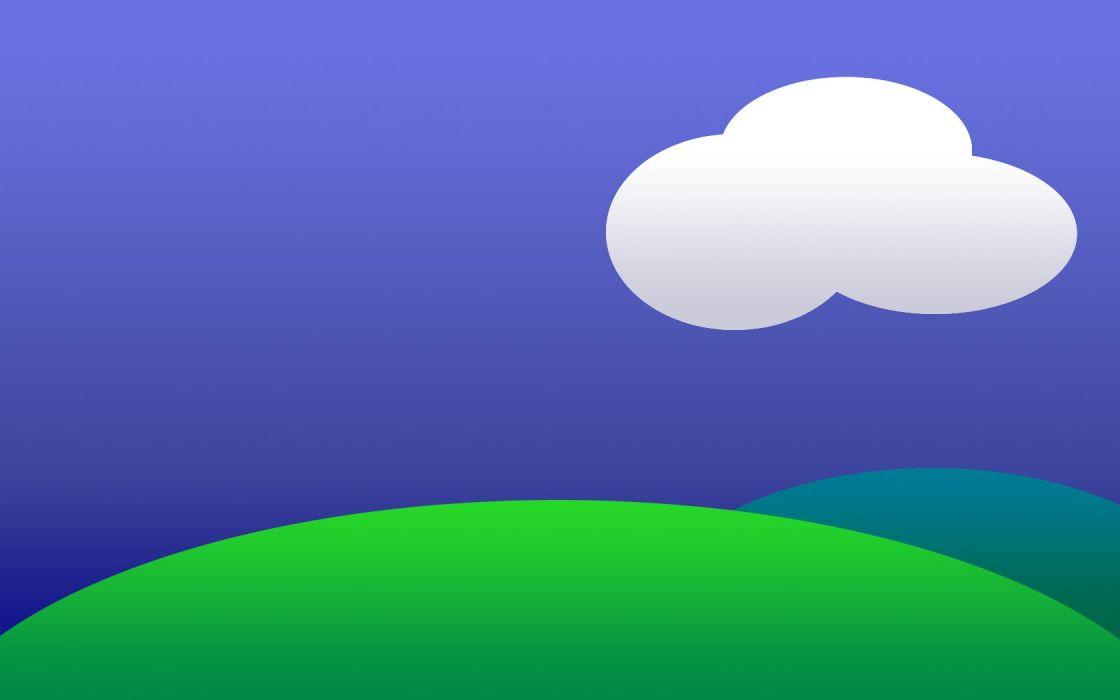 clouds minimalistic hills wallpaper
