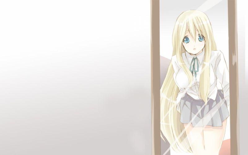 blondes K-ON! mirrors blue eyes skirts Kotobuki Tsumugi open mouth anime wallpaper