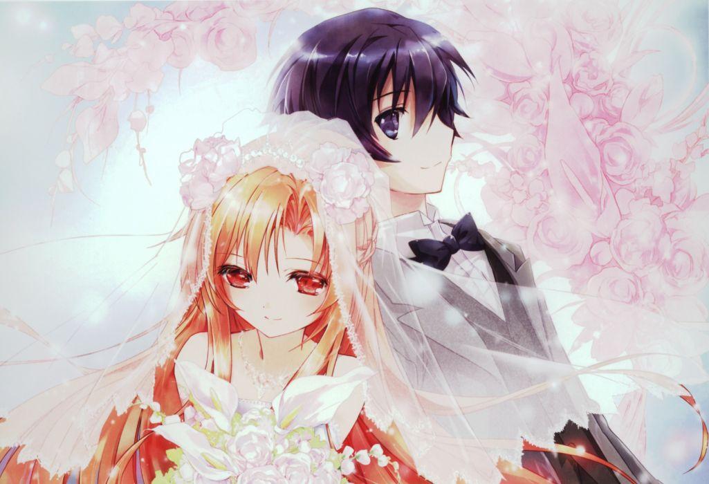 weddings Sword Art Online Yuuki Asuna Kirigaya Kazuto wallpaper