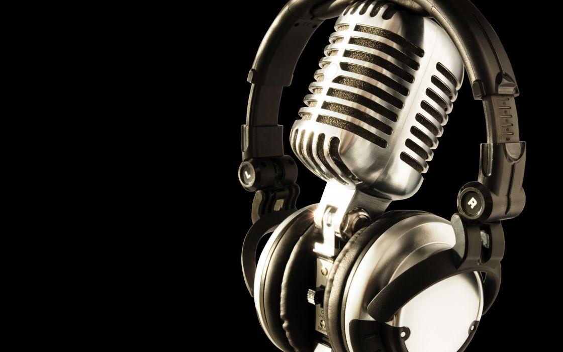 headphones music studio microphones black background wallpaper
