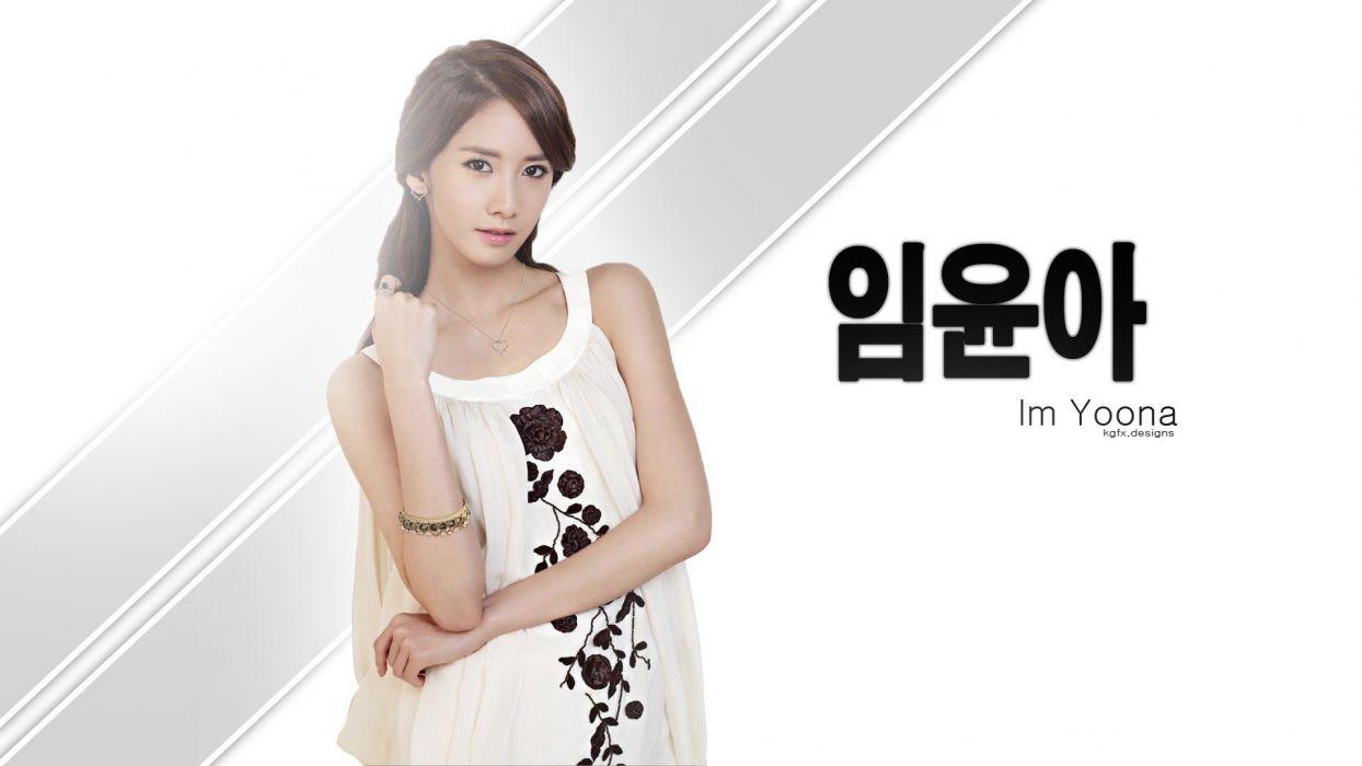 brunettes women eyes models Girls Generation SNSD black eyes Asians Korean Im YoonA K-Pop faces wallpaper