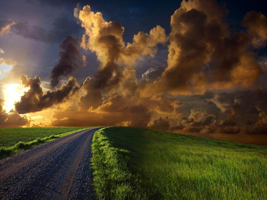 clouds grass wallpaper