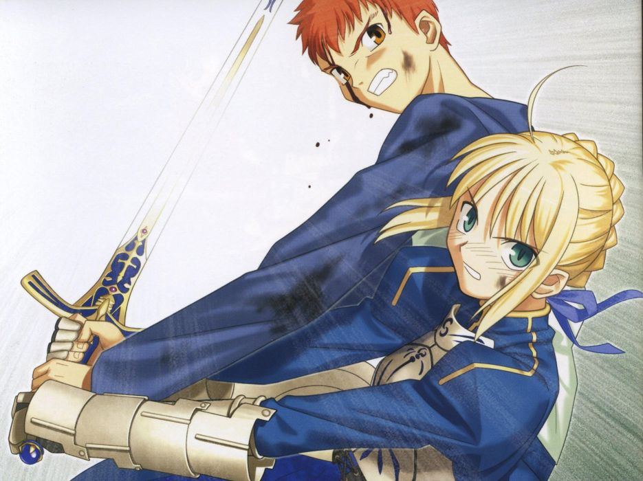 Fate/Stay Night Emiya Shirou Gilgamesh artbook artwork characters scans Fate series wallpaper