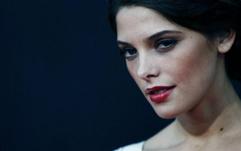 brunettes women actress lips Ashley Greene blue background wallpaper