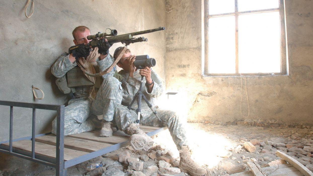 soldiers war guns Afghanistan US Army soldat sniper M24SWS m24 Spotter wallpaper