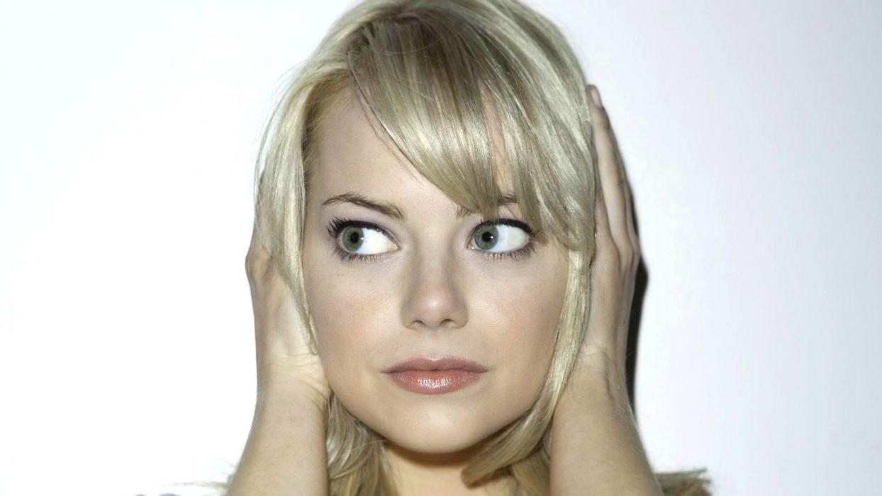 blondes women actress Emma Stone green eyes faces wallpaper