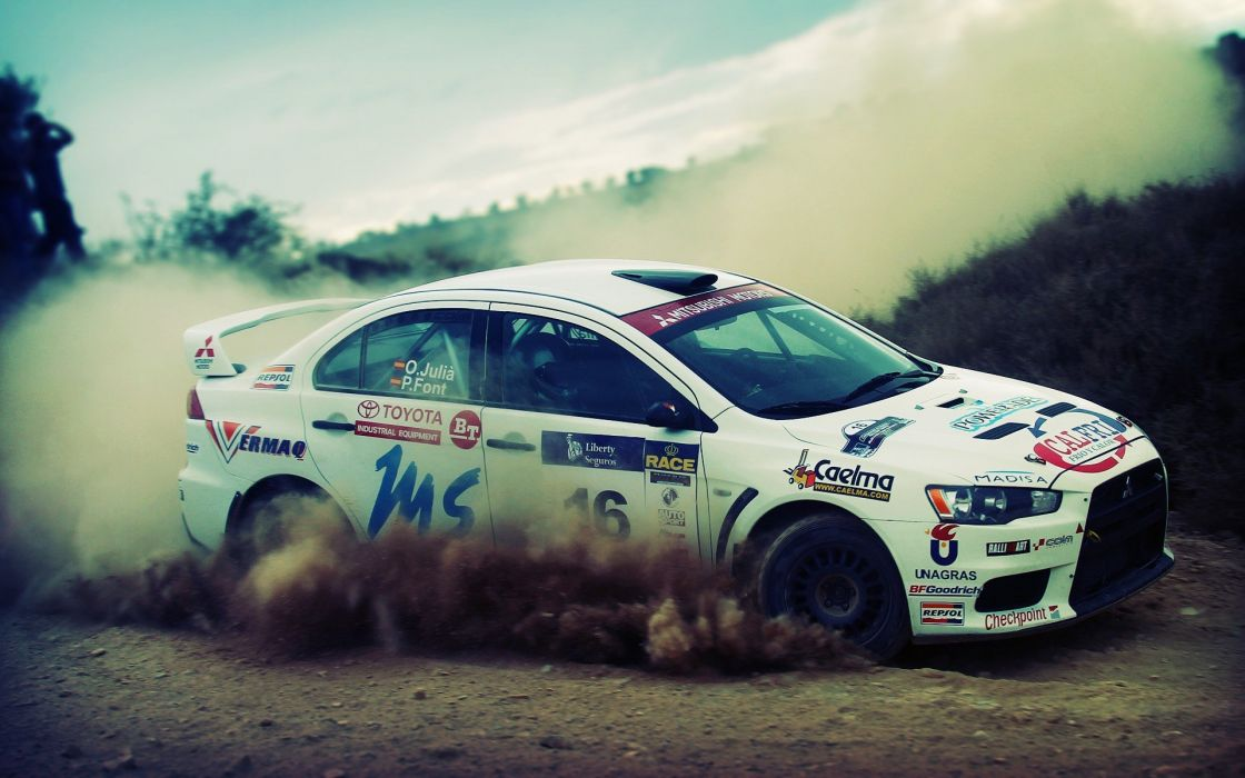 Cars dust rally dirt vehicles depth of field racing Mitsubishi ...