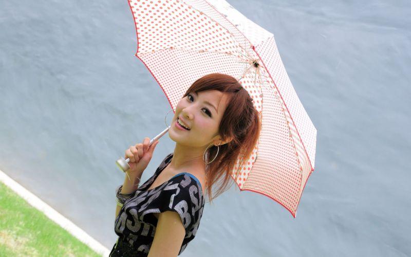 brunettes women Asians umbrellas Mikako Zhang Kaijie wallpaper