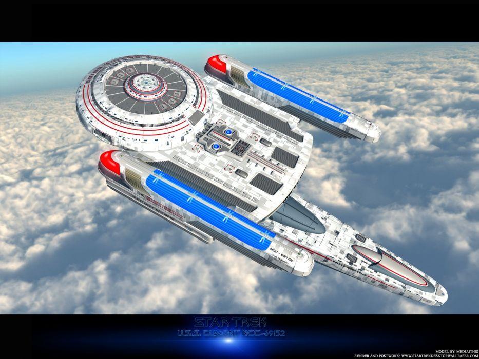 Star Trek USS Dumont NGC69152 Over Clouds freecomputerdesktopwallpaper 1600 wallpaper