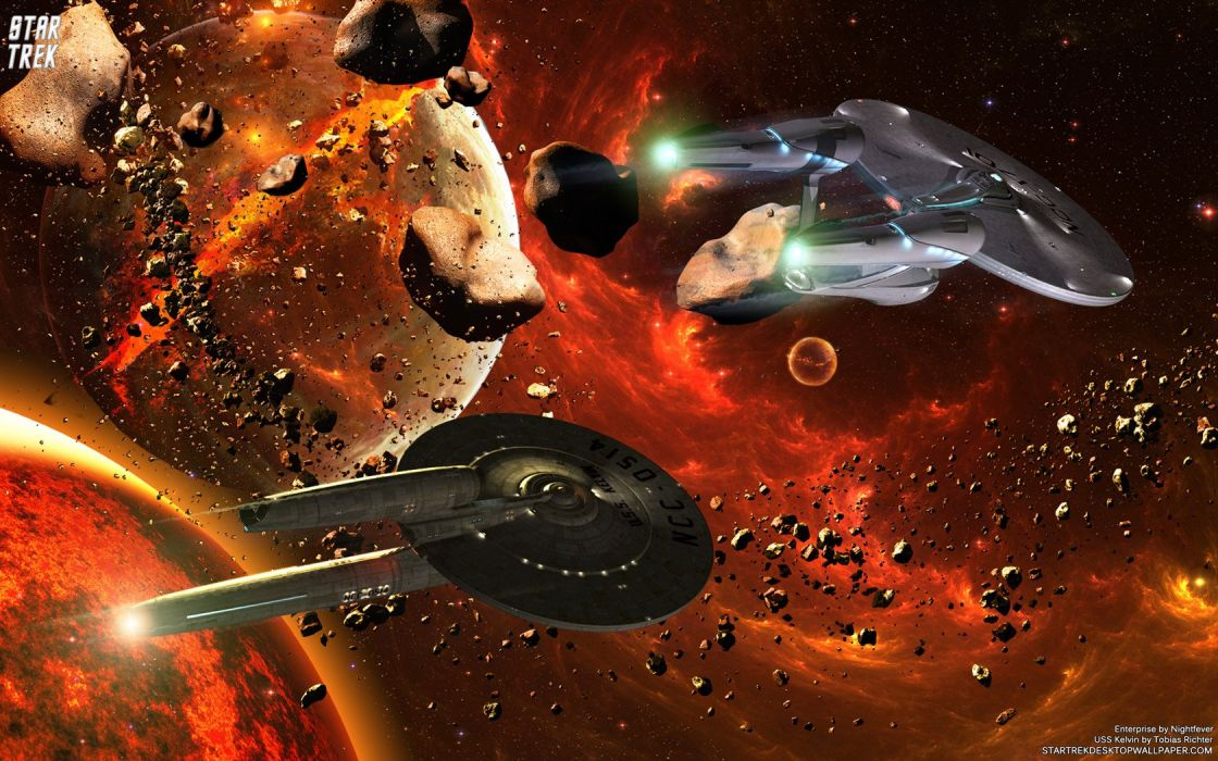 Star Trek USS Kelvin And USS Enterprise freecomputerdesktopwallpaper 1680 wallpaper
