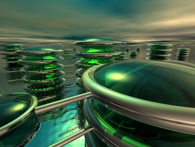 green abstract CGI 3D renders 3D modeling wallpaper