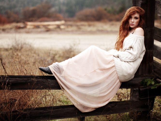 women landscapes dress redheads wallpaper