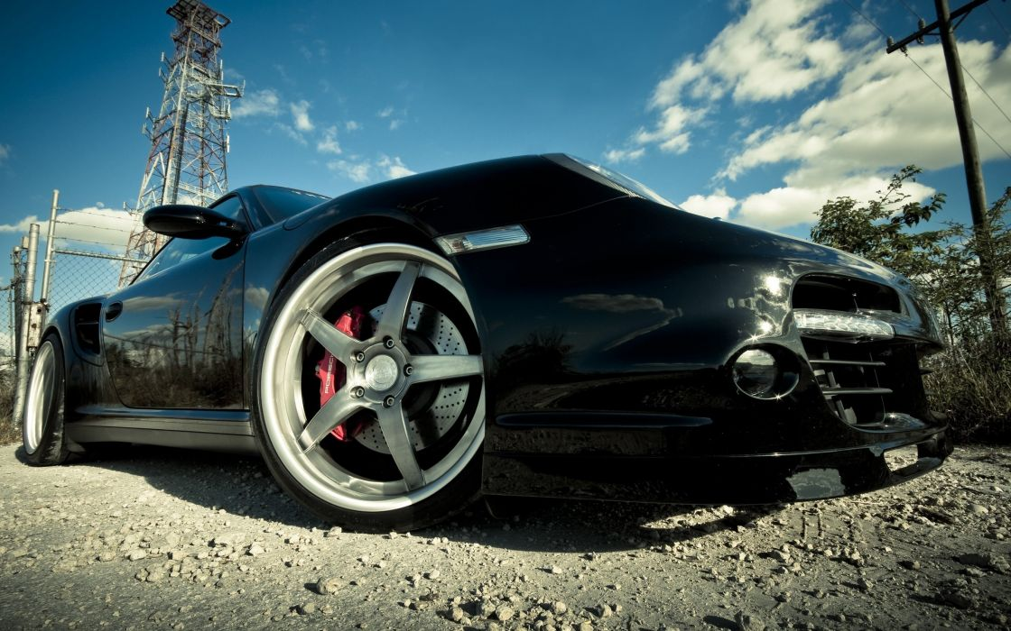 Porsche tuning black cars wallpaper