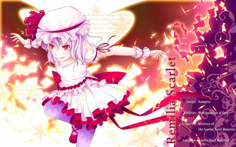 Touhou wings dress ribbons purple hair red eyes short hair hats Remilia Scarlet anime girls vampire wallpaper