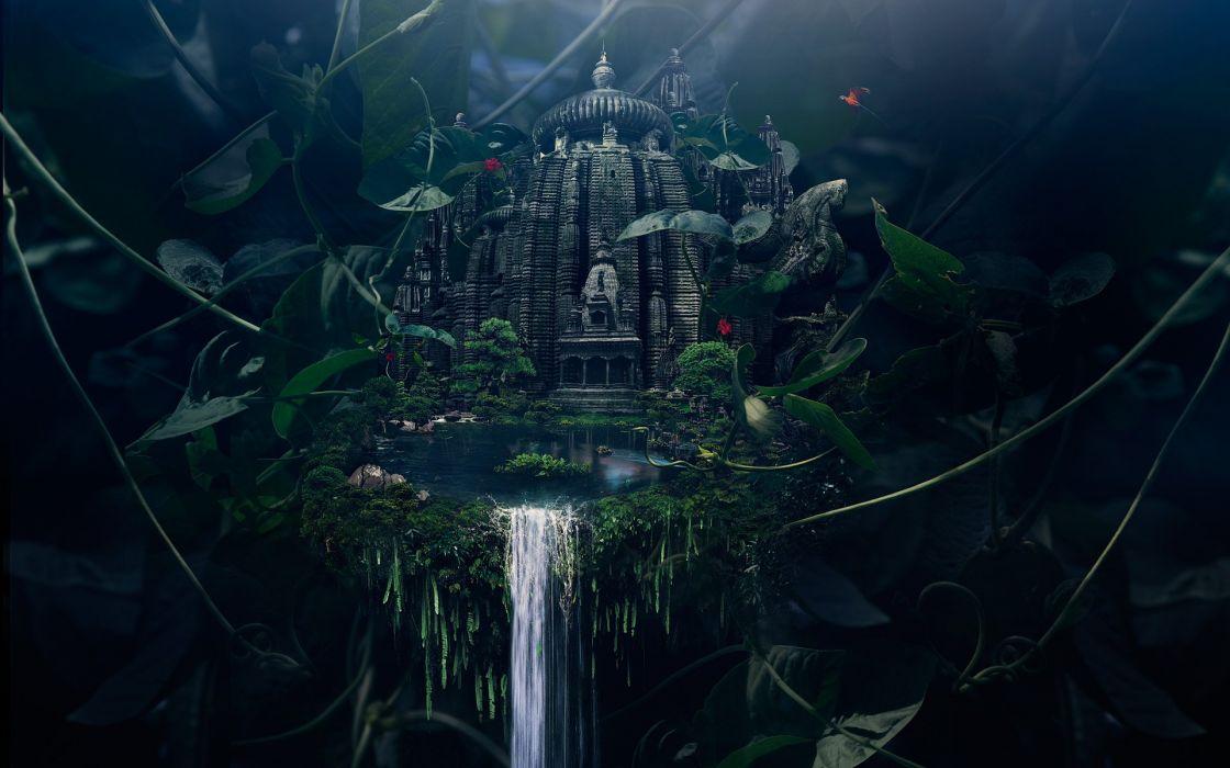 nature temples digital art artwork lakes Justin Maller photo manipulation wallpaper