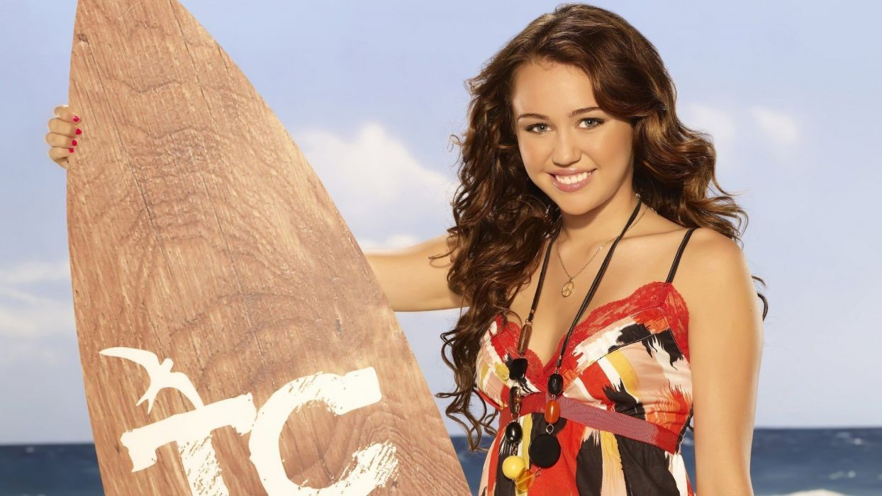 brunettes women Miley Cyrus celebrity surfboards TagNotAllowedTooSubjective wallpaper