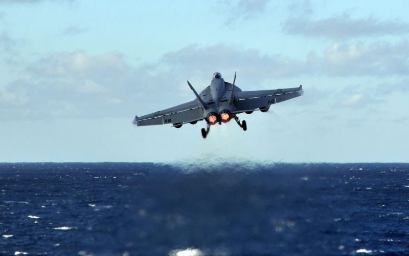 aircraft flying FA-18 Hornet waterscapes wallpaper