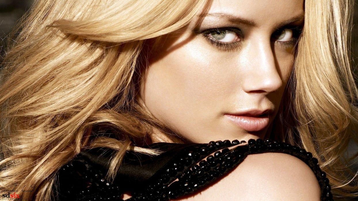 blondes women actress models Amber Heard faces wallpaper