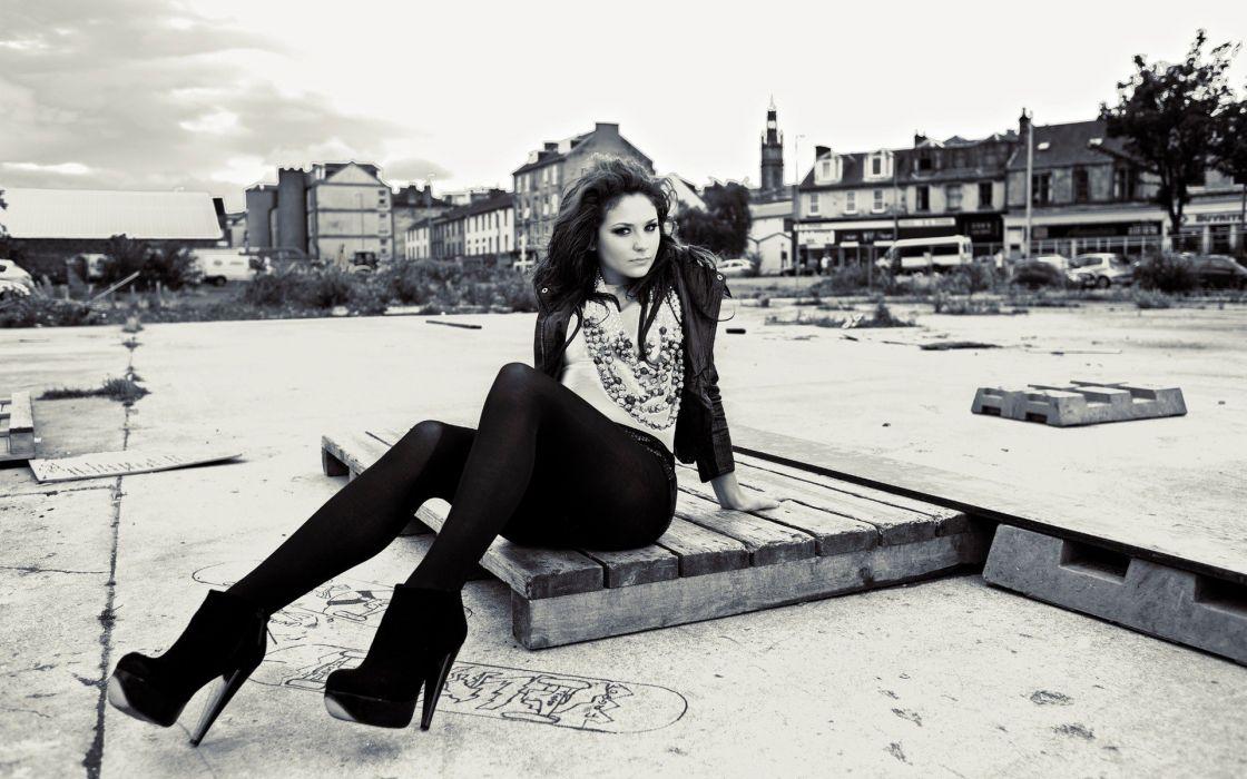 legs women outdoors high heels monochrome necklaces wallpaper