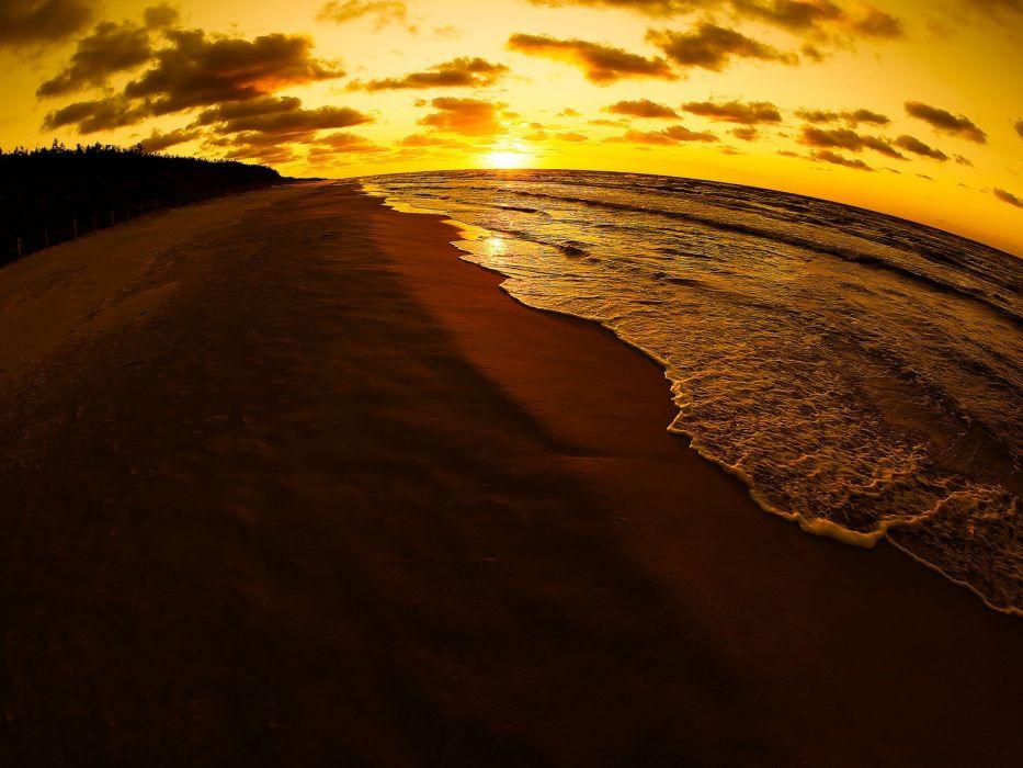 sunrise ocean nature sand beaches wallpaper