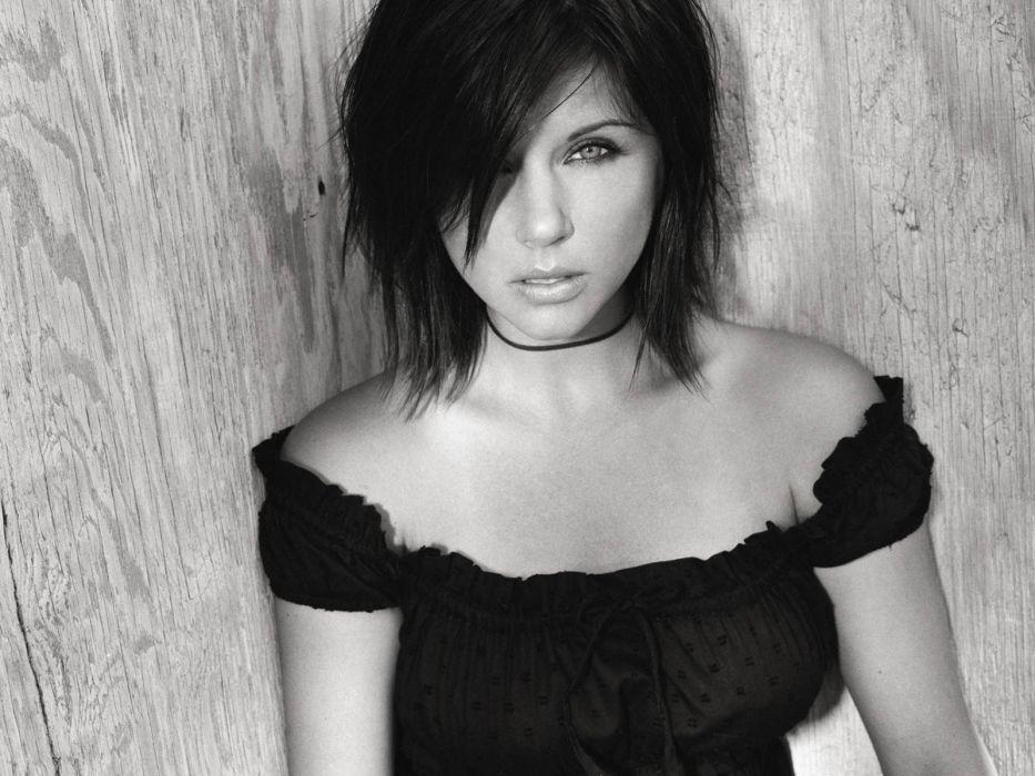 brunettes women celebrity Tiffani Amber Thiessen monochrome black dress wallpaper