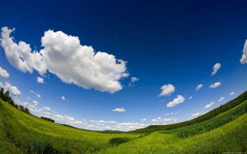 clouds landscapes fields fisheye effect wallpaper