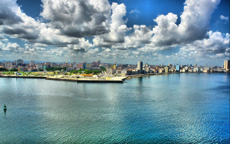 water clouds cityscapes urban Cuba wallpaper