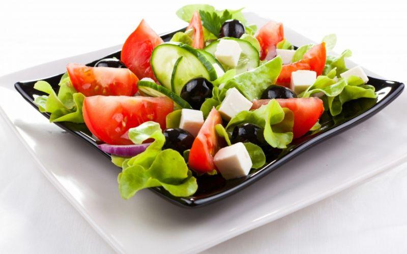 vegetables food cucumbers tomatoes salad olives lettuce wallpaper