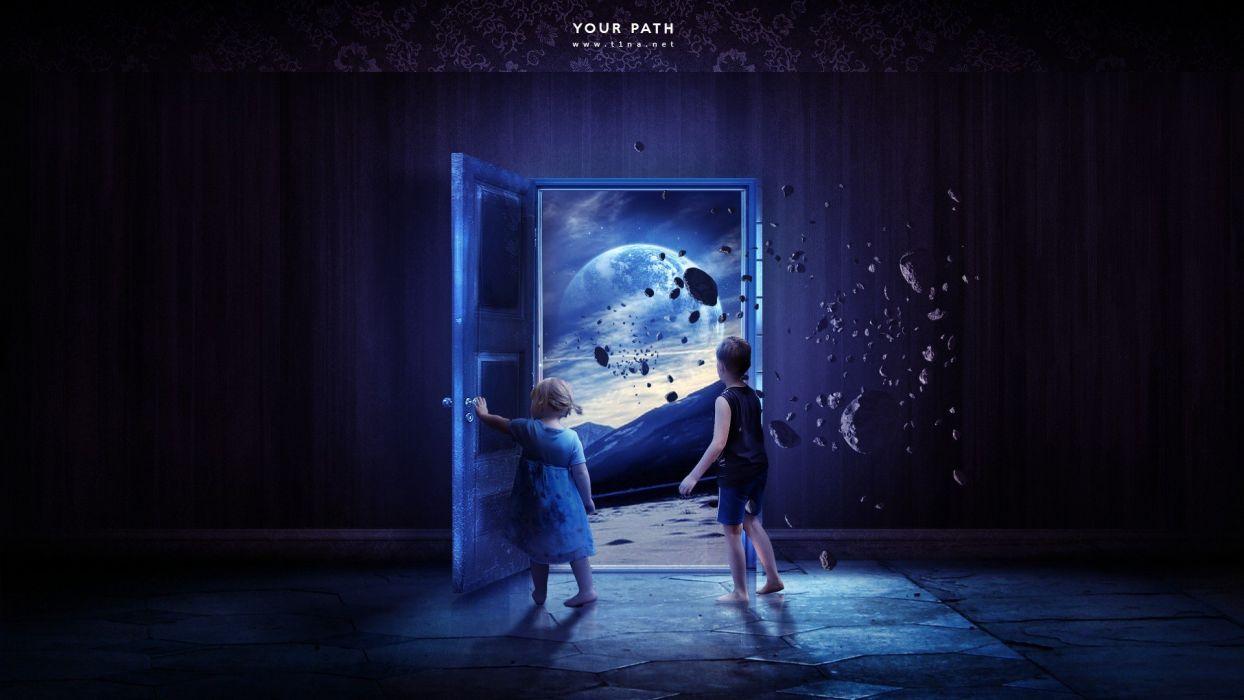 blue outer space purple doors children wallpaper