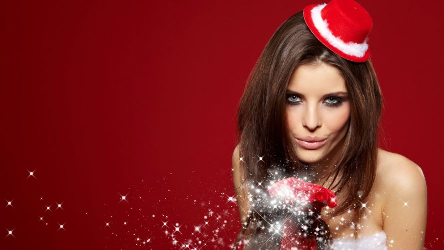 women models Christmas outfits Santa wallpaper
