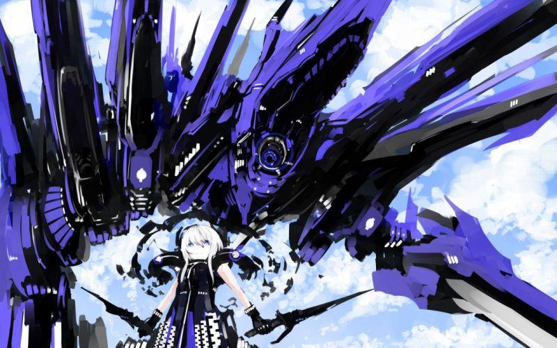 weapons armor artwork Kuroi Mato anime girls wallpaper