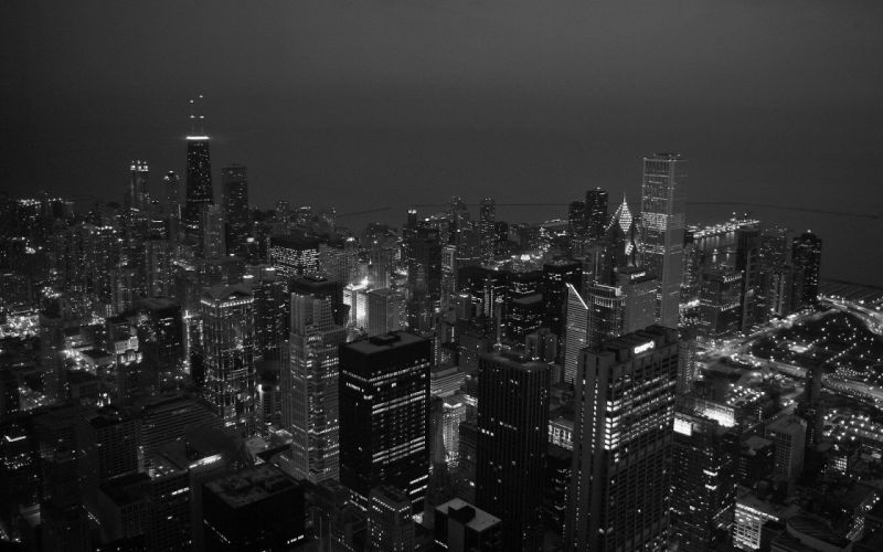 black and white night skyscrapers cities wallpaper