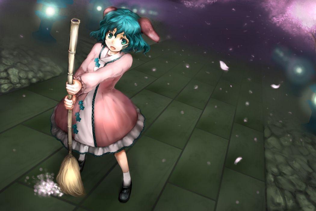 Touhou cherry blossoms dress animal ears aqua eyes aqua hair Kasodani Kyouko anime girls wallpaper