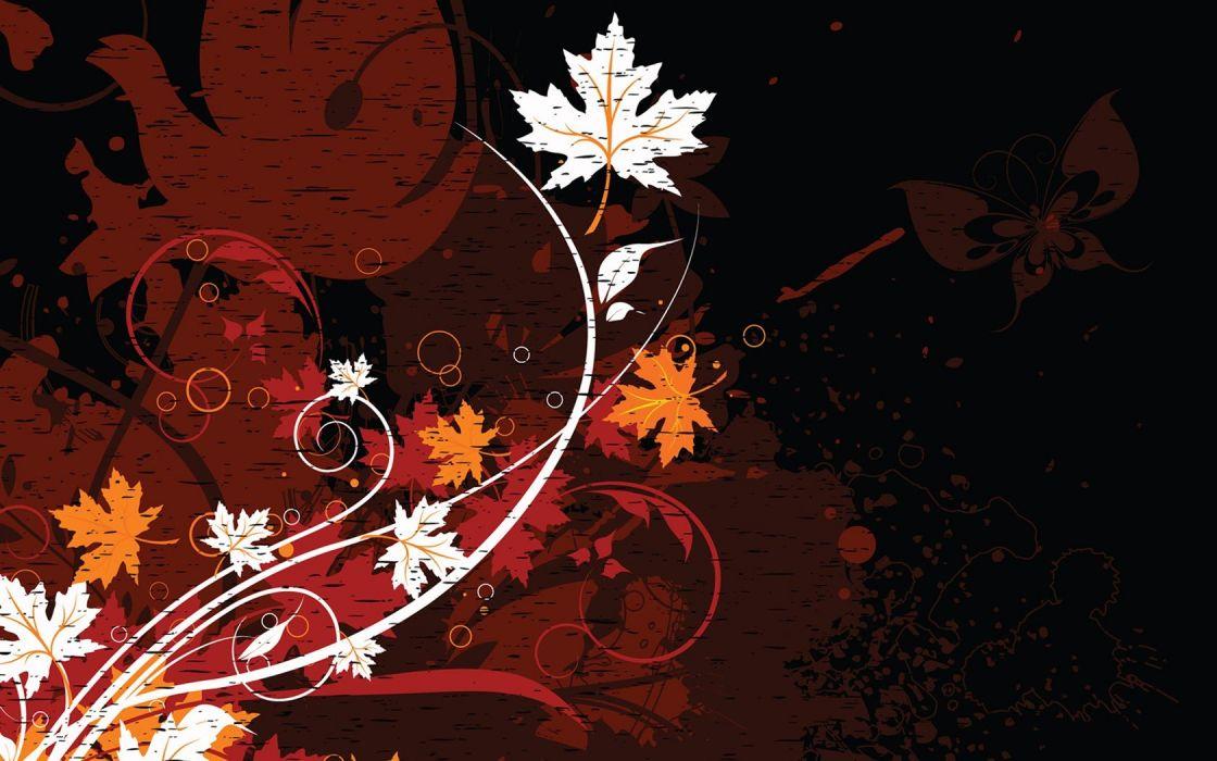grunge seasons floral fallen leaves wallpaper