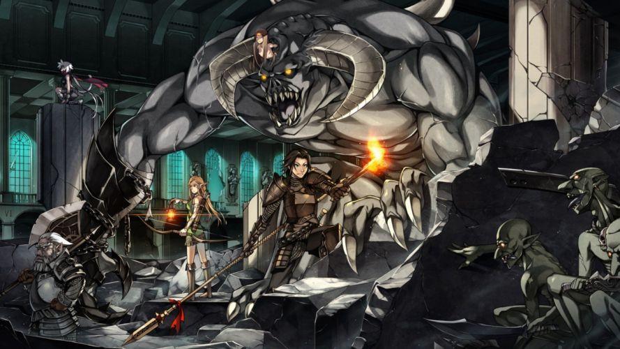 demons horns armor anime long ears anime girls swords wallpaper