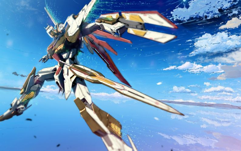 Gundam flying mecha Gundam Seed skyscapes swords wallpaper