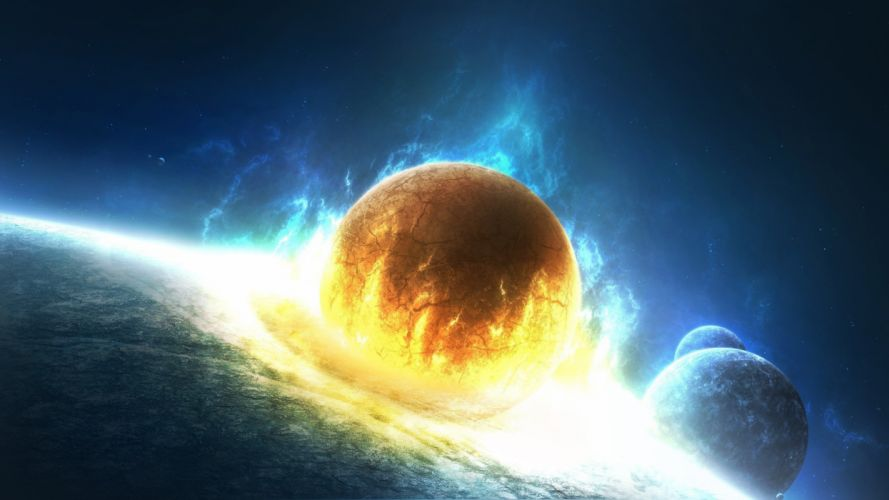 outer space stars explosions planets fire Earth artwork collision wallpaper