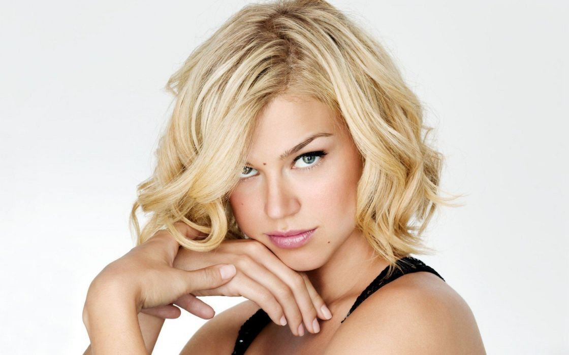 women celebrity Adrianne Palicki simple background wallpaper