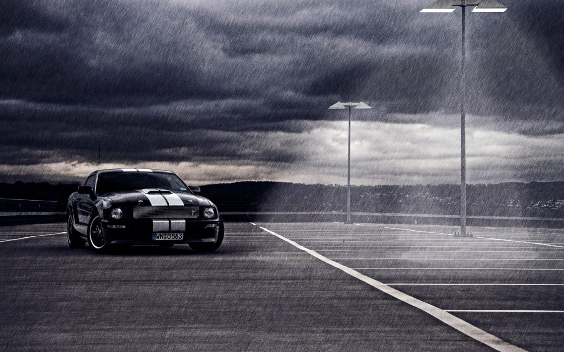 clouds rain cars vehicles Ford Mustang wallpaper