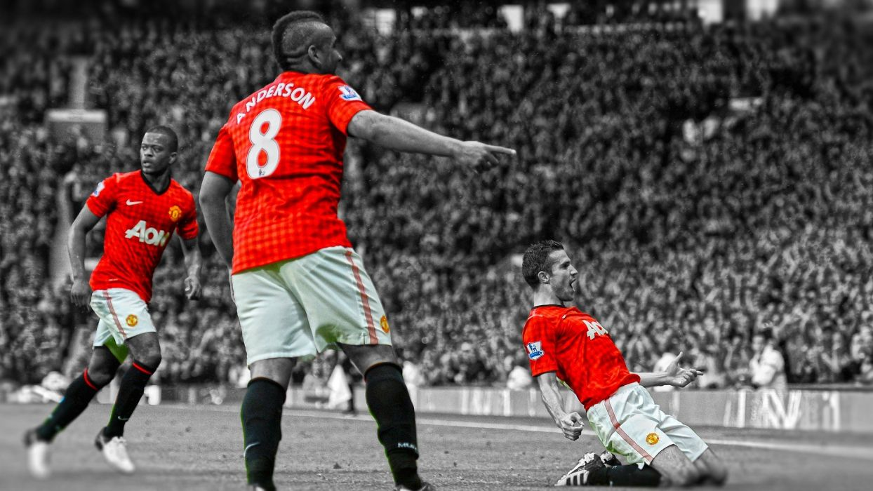 soccer HDR photography selective coloring Manchester United FC Anderson Robin van Persie premier league cutout Patrice Evra wallpaper