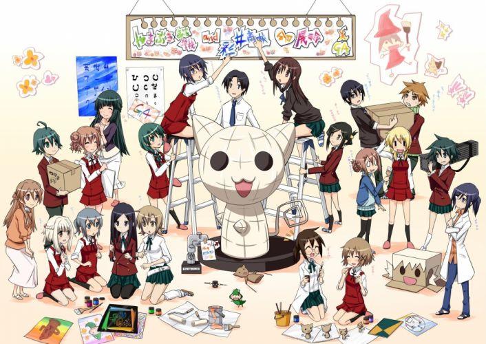 women Natsume Hidamari Sketch seifuku anime girls Yuno Noda Miyako Nori wallpaper
