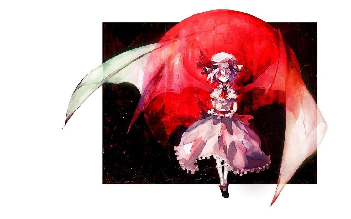 Touhou wings red Pixiv vampires hats Remilia Scarlet anime girls Banpai Akira wallpaper